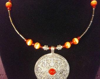 Silver Pendant Choker Necklace