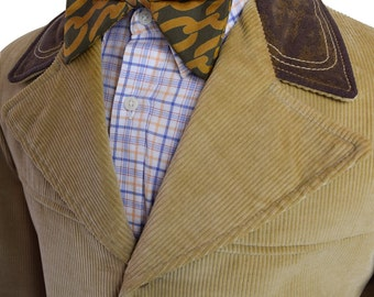 36L / 36 Long Brown and Tan with Brown Accents Men's Corduroy Coat with Four Front Buttons and Full Inner Lining