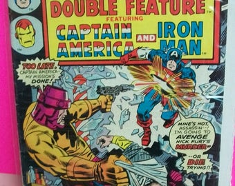 Marvel Double Feature  Starring Captain America and Iron Man #16 Nick Fury  VF Condition 1976 Marvel Vintage Comic Book