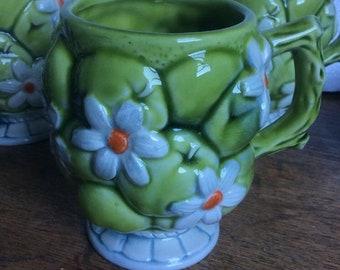 VINTAGE INARCO Japan Creme de Menthe set of 4 coffee tea mugs cups green