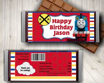 Thomas The Train, Candy Bar Wrapper,  Train Station, Thomas Birthday, Train Party Favors, Personalized Train, Train Decor