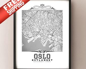 Oslo Vintage Style Black & White Map Art Print - Oslo, Norway City Map Decor