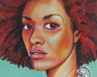 "Art Print, ""Headturner on Turquoise"", Wall Art, Original Art, Original Painting, Portrait Painting, Prints, Figurative Art, 11x14"
