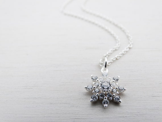 CZ & Silver Snowflake Necklace, Sterling Silver, Cubic Zirconia, Winter Wedding