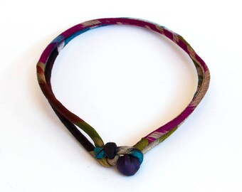 Uzbek textile choker Ethnic traditional fabric knot design necklace Double strand Lightweight jewelry Statement necklace