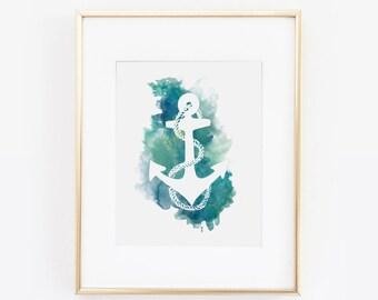 Anchor, Nautical Art, Anchor Print, Anchor Decor, Anchor Wall Art, Nautical Decor, Nautical Print, Wedding, Nautical Nursery, Watercolor Art