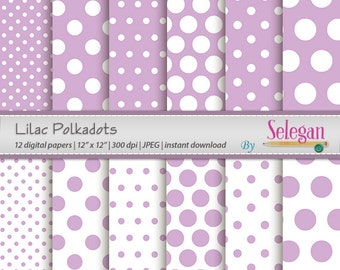 "polka dot decor "" Lilac Polkadots "" polka dots digital scrapbook paper baby pattern lilac white printable background instant download"
