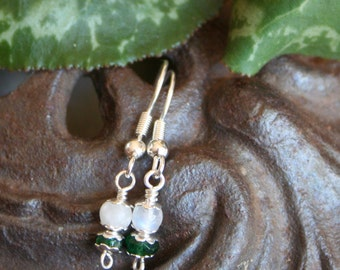 Dainty Fertility Earrings-  with Blessing, Moonstone and Aventurine
