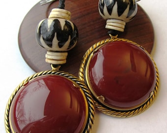 Keychain or Fob with  38mm Carnelian and Batiked Bone with Eggshell Heishi