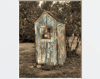 Rustic Vintage Outhouse Bathroom Wall Art Photography, Brown Blue  Home Decor Wall Art Matted Picture