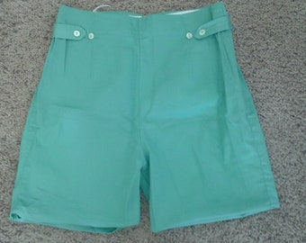 Vintage Mint Green 1960s 1950s shorts Sz S M 100% Cotton High Waisted
