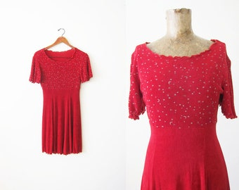 90s dress - 90s bodycon dress - star moon celestial dress - red dress - 90s clothing - red party dress - stretchy vintage dress - S M