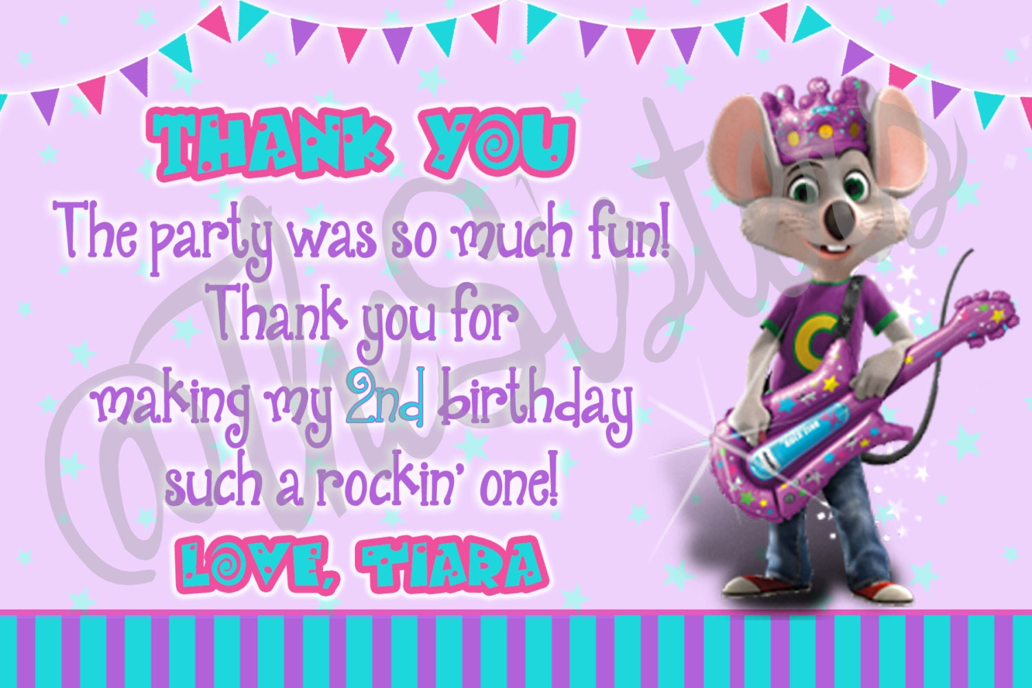 Chuck e cheese thank you card girl birthday party kristyandbryce Image collections
