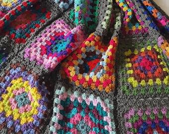 Large Granny Squares Crochet Afghan Blanket Bright Grey Sofa Throw