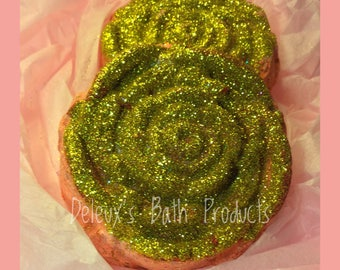 Enchanted Rose. Topped with TONS of Gold Glitter. Valentines Day Gift. Gift for Wife. Gift for Daughter. Rose Bath Bomb. Gift for Mom.