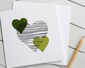 Love Heart Valentine Card Modern Scandi Romantic Gender Neutral Wedding Anniversary Green