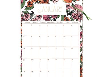 2018 Wall Calendar 5.5x8.5 inches featuring 12 different floral pattern illustrations in Green, Gold, Blue, Orange, Pink, Brown and Purple