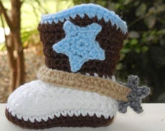Baby Cowboy Boots, baby boots, boy cowboy  boots, knit,Crochet Cowboy Boots, Strap,Spurs, star Customizable