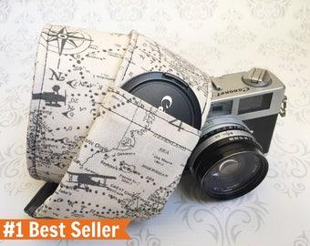 Camera Strap, DSLR Camera Strap, Lens Cap Pockets, Travel Photographer, Nikon or Canon Camera,  Gift, Photographer Gift - Maps