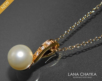 Pearl Gold Bridal Necklace Wedding Pearl Necvklace Single Pearl Vermeil Gold Necklace Swarovski 8mm Ivory Pearl Necklace Bridal Jewelry