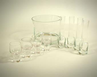 Vintage Mid Century Modern Glass Bar Set