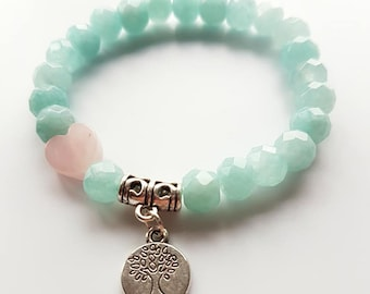 Aquamarine & Rose quartz tree of life stretch bracelet