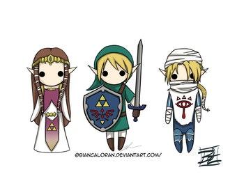 "Legend of Minis Art Print - 8""x10"" or 11x14"" - Zelda original anime manga - Bianca Loran Art"