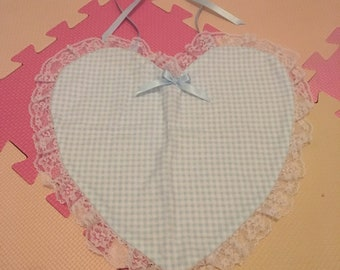Baby Blue Gingham Heart Shaped Adult Bib