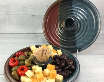 Snack Tray, Serving Platter, Olive Dish, Handmade Serving Dish with Toothpick Holder, Stoneware Platter