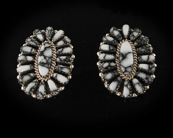 Sterling and White Buffalo Earrings