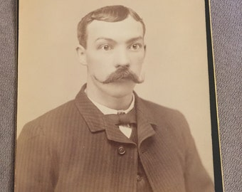 Cabinet Card Photo; Hipster Man Photo; Victorian Era Photo; Vintage Sepia Photo; Vintage Cabinet Card Picture