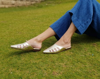Women's Shoes, Mules Shoes, Gold Shoes, Flat Shoe, Leather Flats, Women's Flats, Women's Sandals, Slip On Shoe, Leather Slides, Summer Shoes