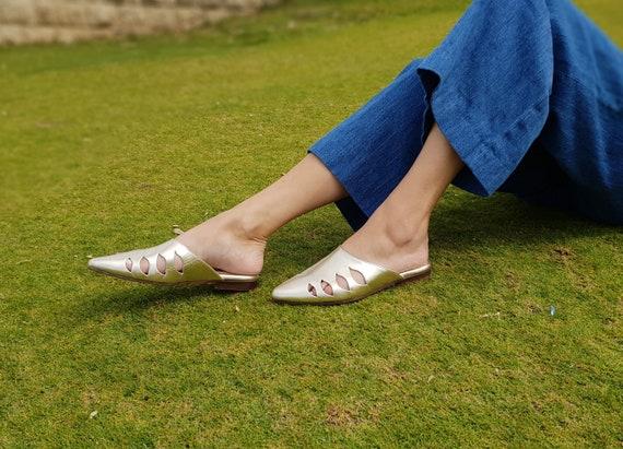 Sandals Shoes Shoes Slip Slide Flats flats Shoes Shoes On Women's Gold Summer Slides Leather Gold Women's Shoes Mules Leather wIUOt6xq