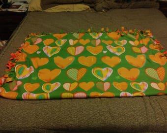Orange heart fleece tie blanket