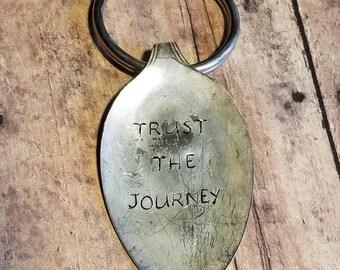 "Vintage spoon key chain ""Trust the Journey"""