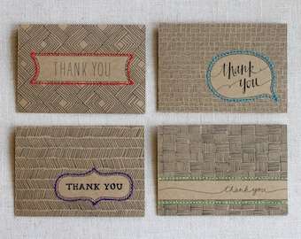 Thank You Cards, Card Sets, Thank You Card Sets, Boxed Set, Thank You Card, Embroidered Card