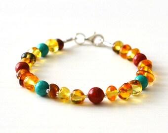 Natural baltic amber bracelet, summer bracelet, amber gift, coral, turquoise, amber bracelet, amber jewelry