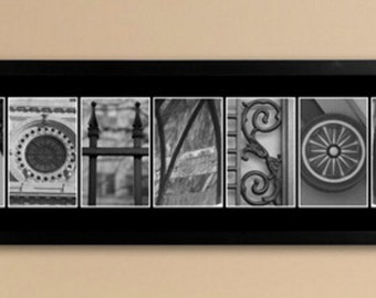 Architectural Elements II Black and White Family Name Prints - Personalized