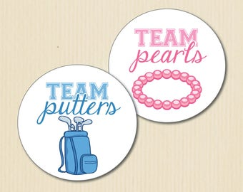 Gender Reveal Party Stickers, Putters or Pearls, Golf, Little Lady, Team Boy, Team Girl, Baby Shower Stickers, Team Pink Labels, Team Blue