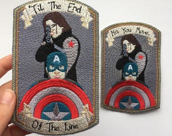 Embroidered Patch: 'Til End Of The Line/No, You Move Steve Rogers - Captain America, Bucky Barnes - Winter Soldier, Stucky