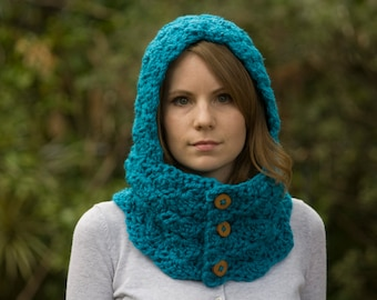 Teal Hooded Cowl, Bright Blue Crochet Cowl with Hood, Women's Winter Accessories