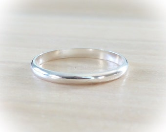 Sterling Silver Ring, CLASSIC Sterling Silver Ring, Smooth Silver Ring, Minimalist Ring, Stackable Ring, Etsy Gifts, Boho Jewelry, Dainty