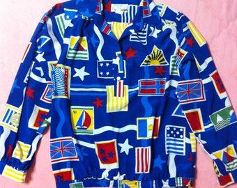 Vintage Novelty Print Blouse, Vintage Blue Novelty Print Blouse Shirt, Vintage Blue Blouse, Novelty Print Blouse