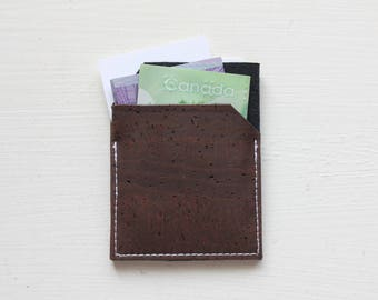 Slim Front Pocket Cork Wallet - Brown