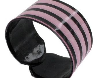 Black Purple Vinyl Stripe Cuff Wrap Bracelet Vintage 1970s