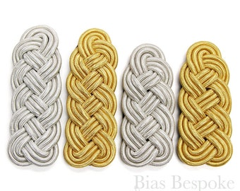 Braided Gold and Silver Bullion Cord Epaulettes in Two Sizes