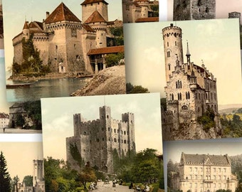 European Castles in 1 inch squares -- 4x6 inch sampler -- piddix digital collage sheet no. 1027