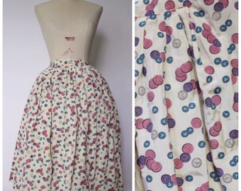 Vintage 1950s Novelty Print Skirt | 50s Button Print Skirt | Full Skirt | Novelty Print