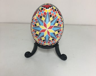 Red/Black/Yellow/Blue Star Pysanky Chicken Egg