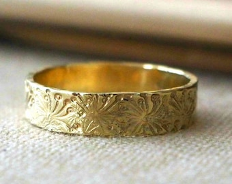 Vintage Style Wedding Band 14k Ring, Dandelion, Women Men Ring, Handmade, Campo di Fiori Collection